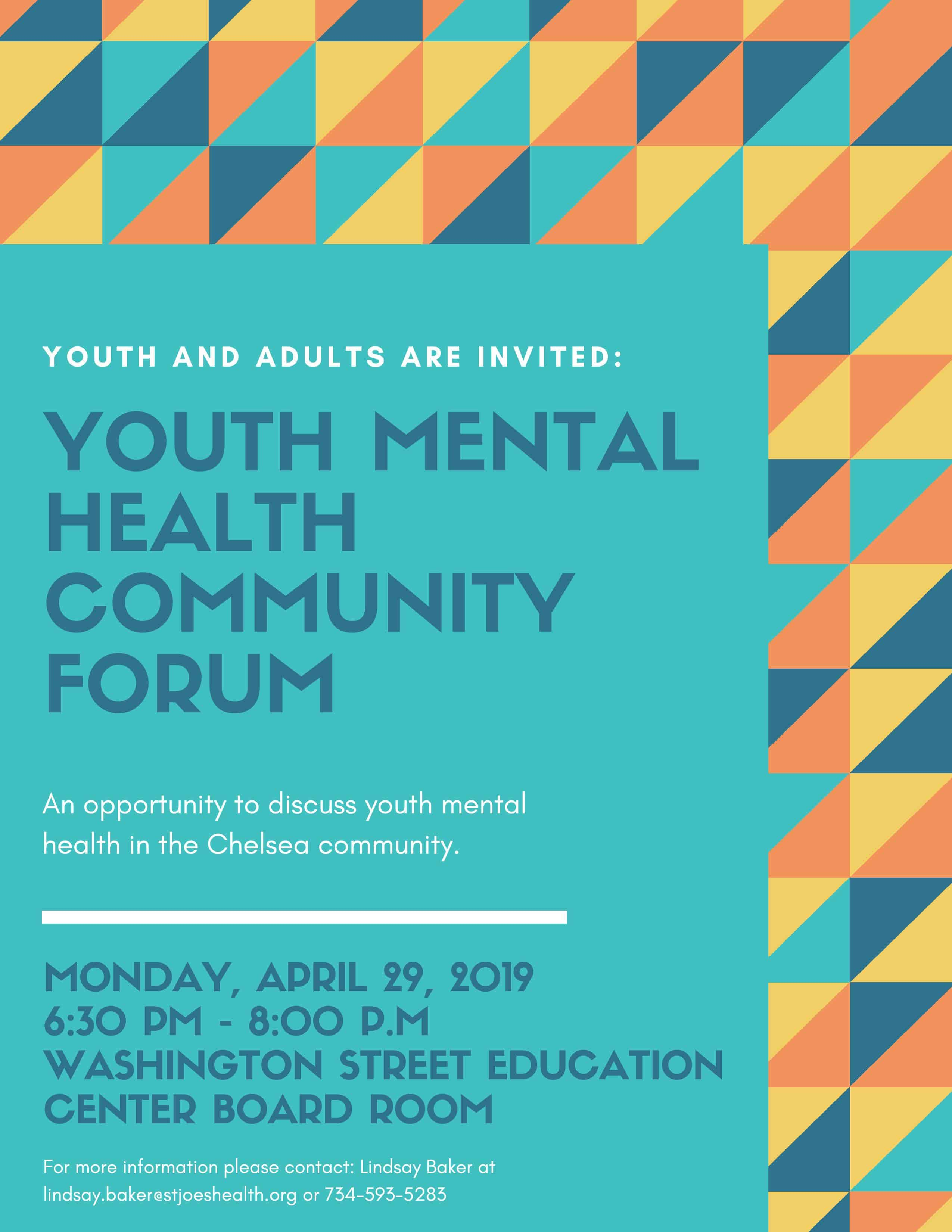 Community Forum on Youth Mental Health - April 29 - SRSLY Chelsea